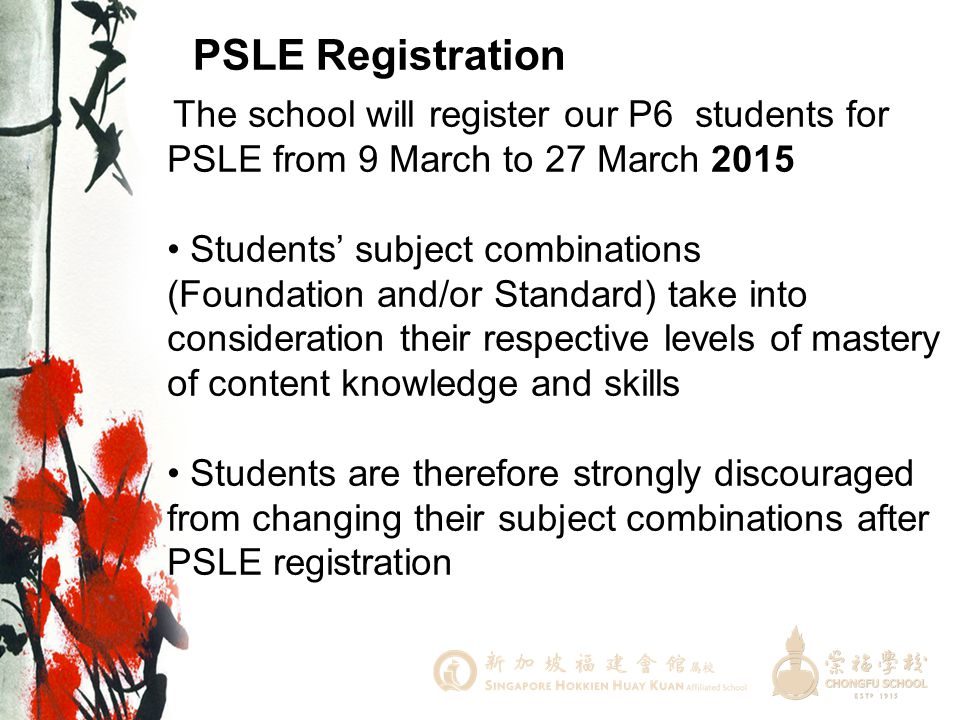 PSLE Registration • Students' subject combinations