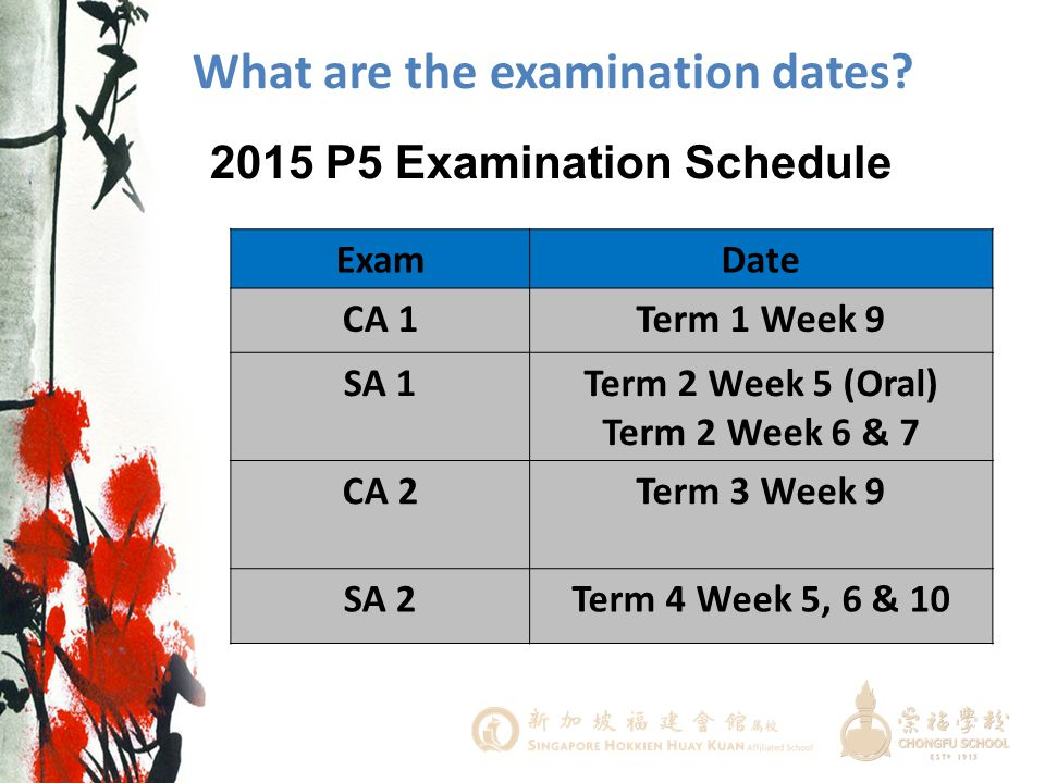 What are the examination dates