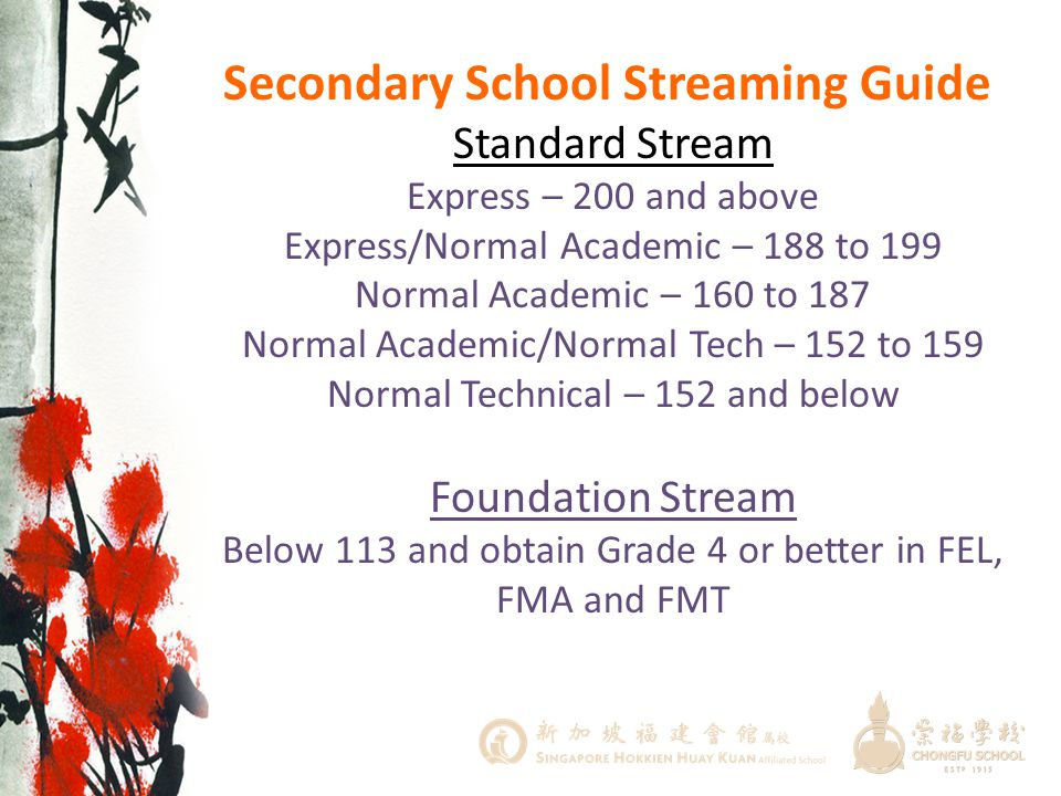 Secondary School Streaming Guide Standard Stream Express – 200 and above Express/Normal Academic – 188 to 199 Normal Academic – 160 to 187 Normal Academic/Normal Tech – 152 to 159 Normal Technical – 152 and below Foundation Stream Below 113 and obtain Grade 4 or better in FEL, FMA and FMT