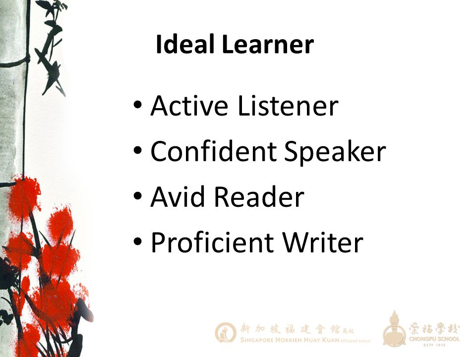 Active Listener Confident Speaker Avid Reader Proficient Writer