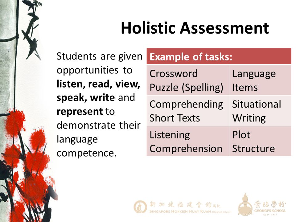 Holistic Assessment Students are given opportunities to listen, read, view, speak, write and represent to demonstrate their language competence.