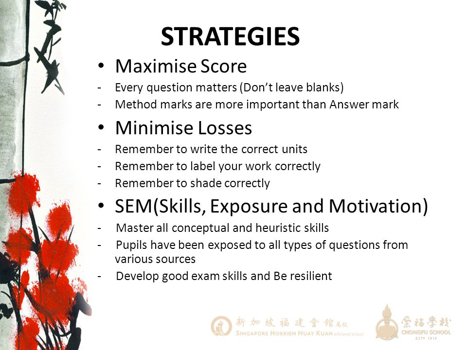 STRATEGIES Maximise Score Minimise Losses
