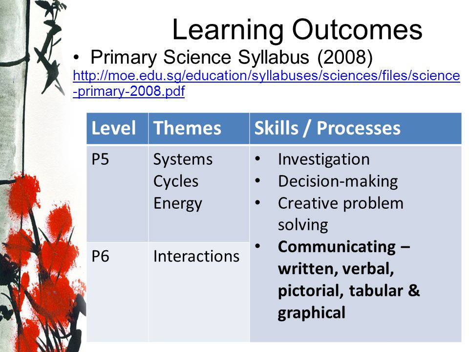 Learning Outcomes Level Themes Skills / Processes
