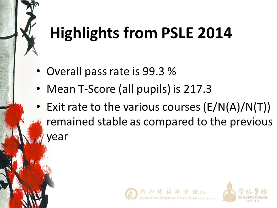Highlights from PSLE 2014 Overall pass rate is 99.3 %