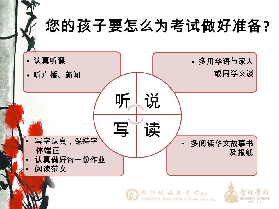 听 说 读 写 您的孩子要怎么为考试做好准备 多用华语与家人或同学交谈 认真听课 听广播、新闻 写字认真,保持字 体端正