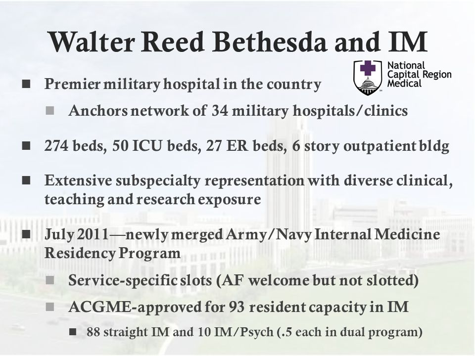 Walter Reed Bethesda and IM