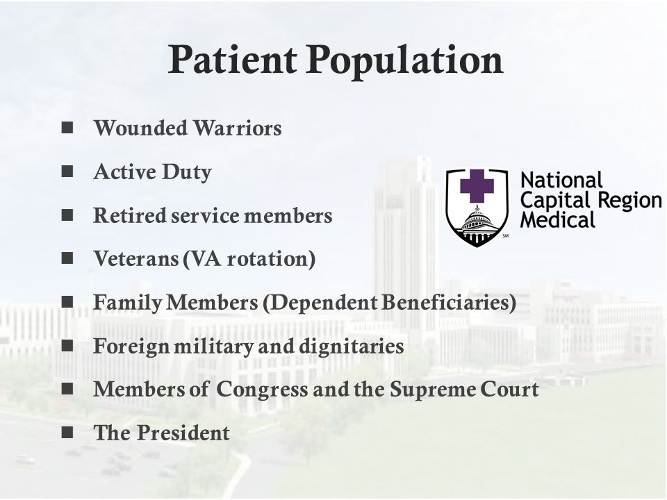 Patient Population Wounded Warriors Active Duty