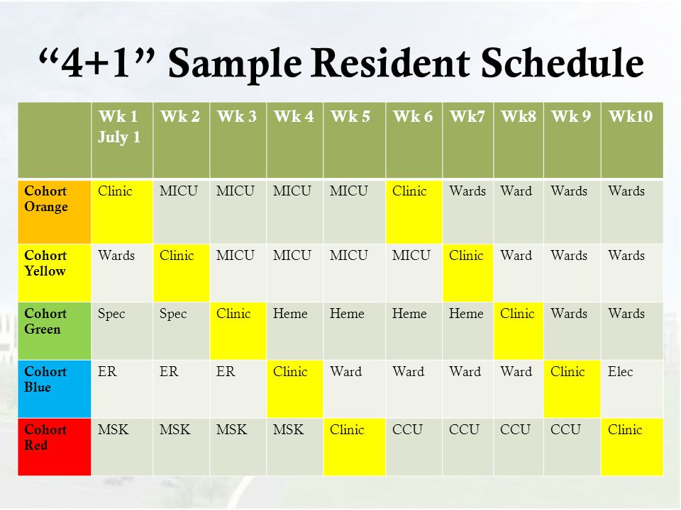 4+1 Sample Resident Schedule