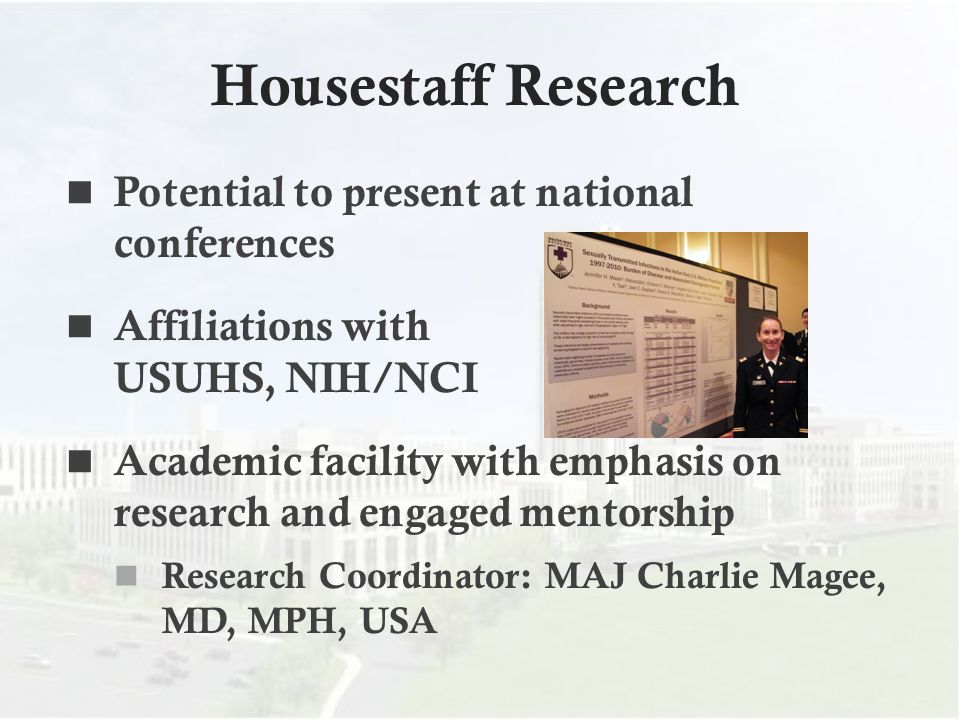 Housestaff Research Potential to present at national conferences