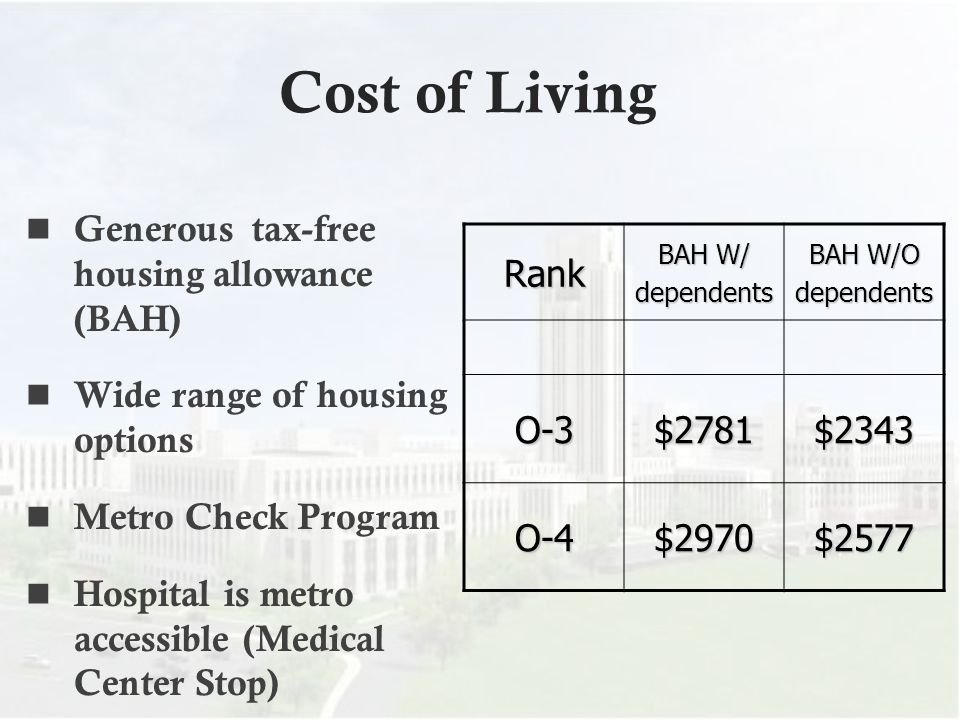 Cost of Living Generous tax-free housing allowance (BAH)