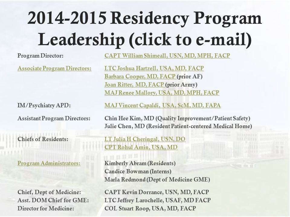 2014-2015 Residency Program Leadership (click to e-mail)