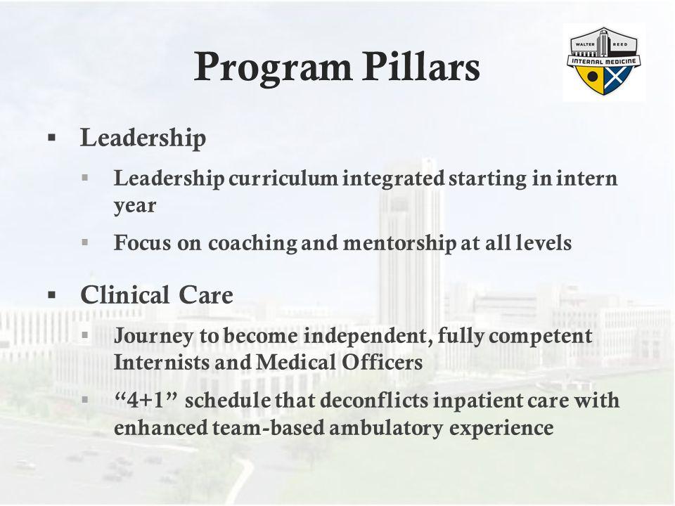 Program Pillars Leadership Clinical Care