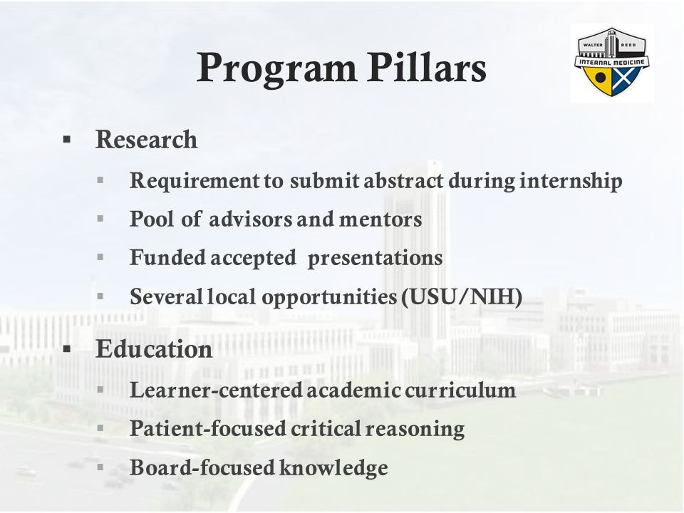 Program Pillars Research Education