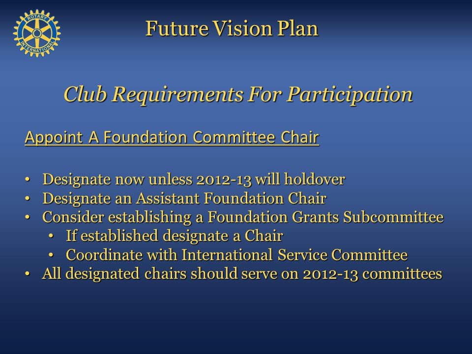 Club Requirements For Participation