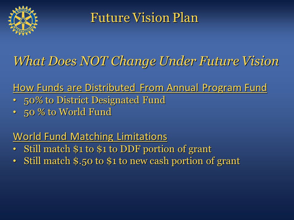 What Does NOT Change Under Future Vision