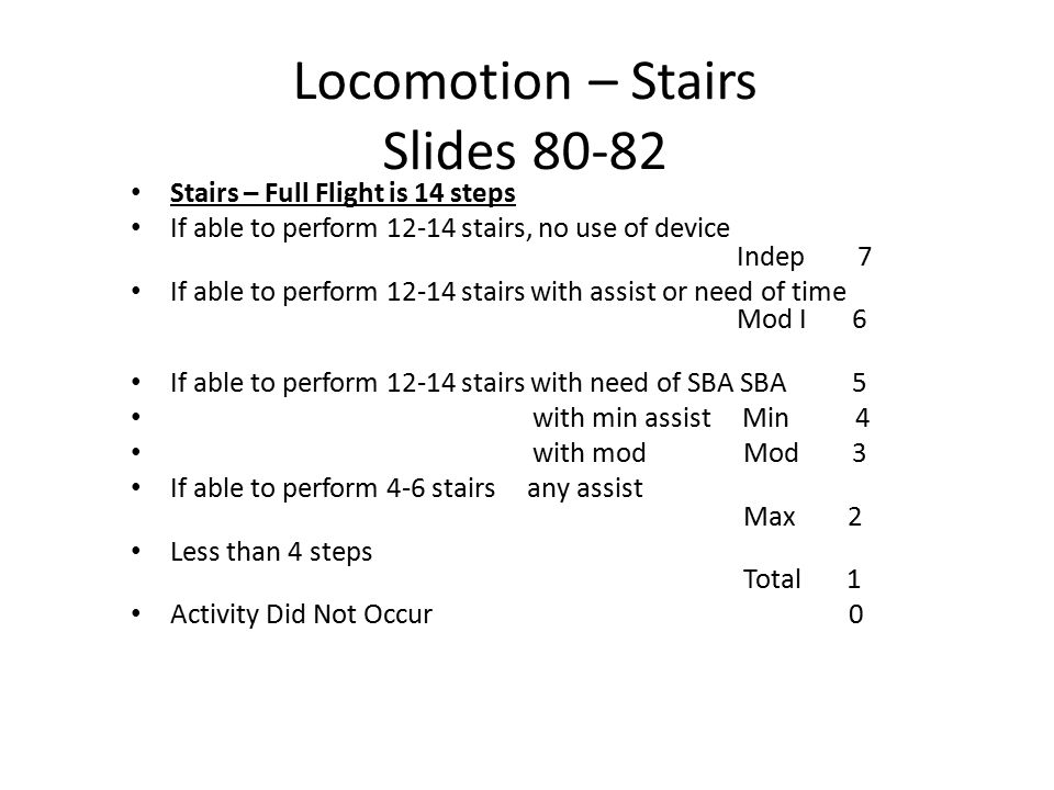Locomotion – Stairs Slides 80-82