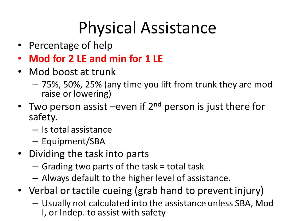 Physical Assistance Percentage of help Mod for 2 LE and min for 1 LE