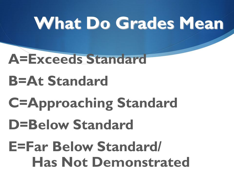 What Do Grades Mean A=Exceeds Standard B=At Standard C=Approaching Standard D=Below Standard E=Far Below Standard/ Has Not Demonstrated