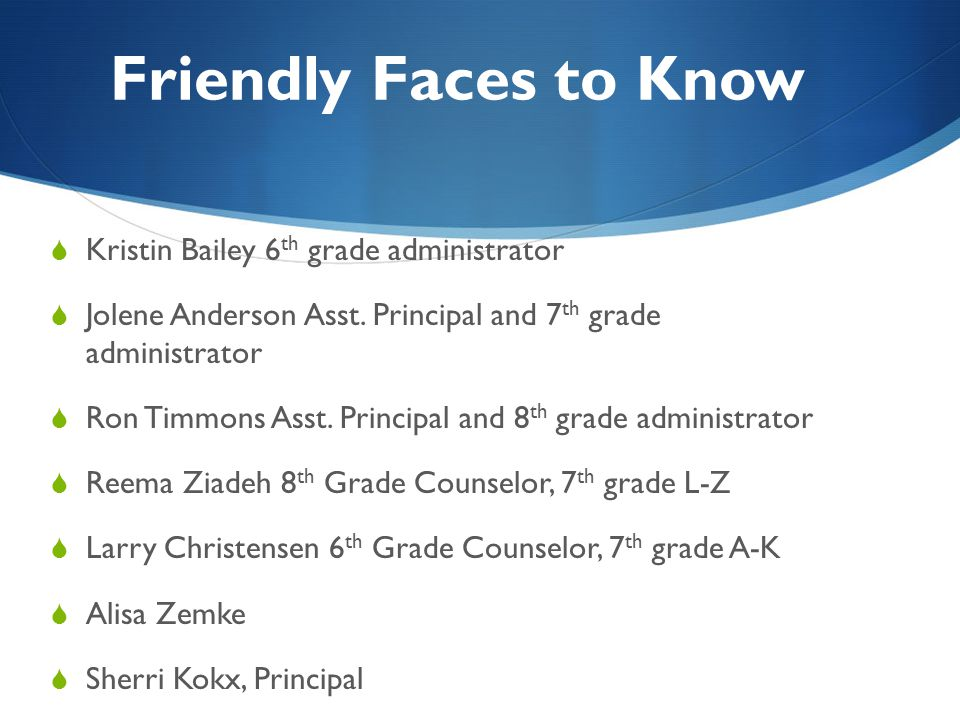 Friendly Faces to Know Kristin Bailey 6th grade administrator