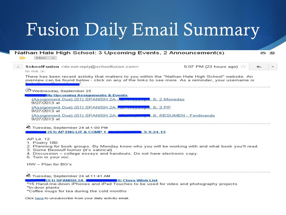 Fusion Daily Email Summary