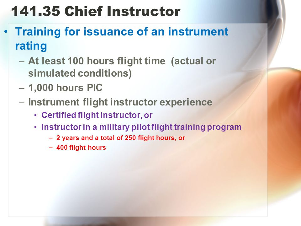 Chief Instructor Training for issuance of an instrument rating