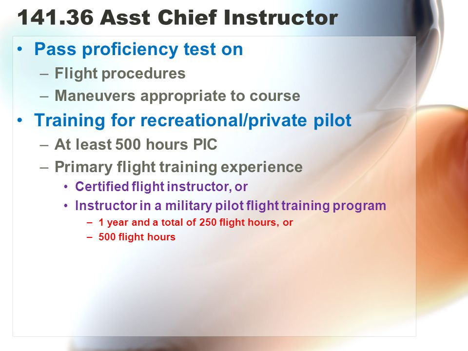 Asst Chief Instructor Pass proficiency test on