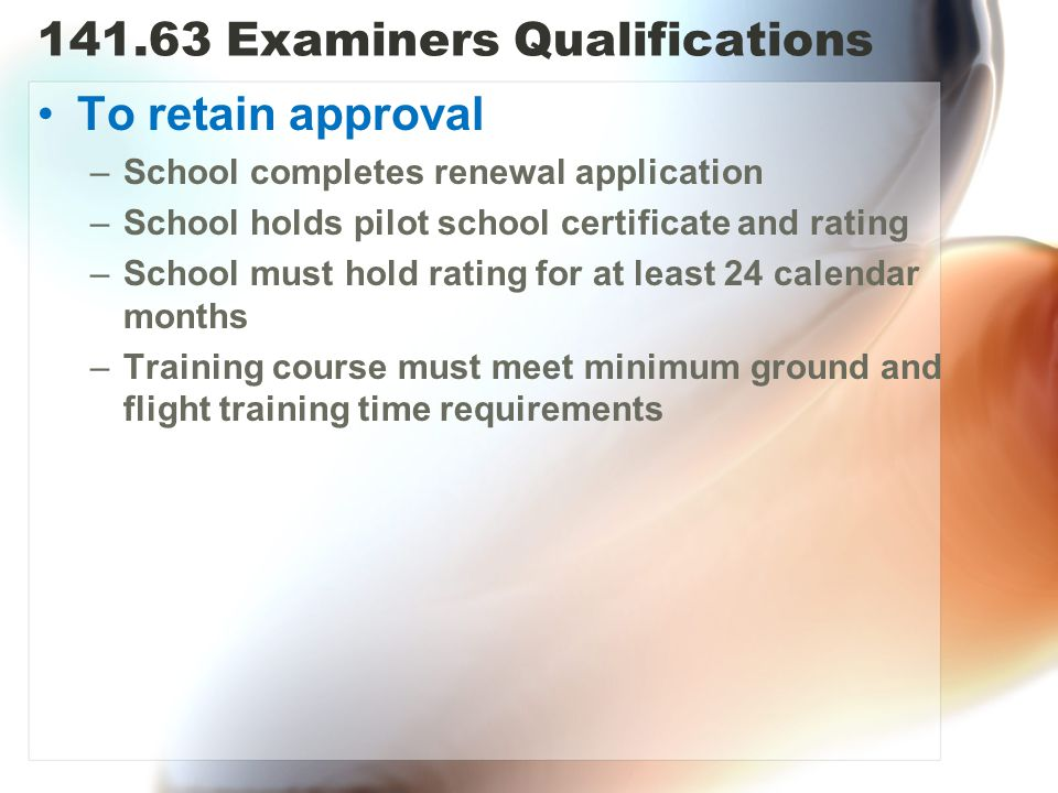 Examiners Qualifications