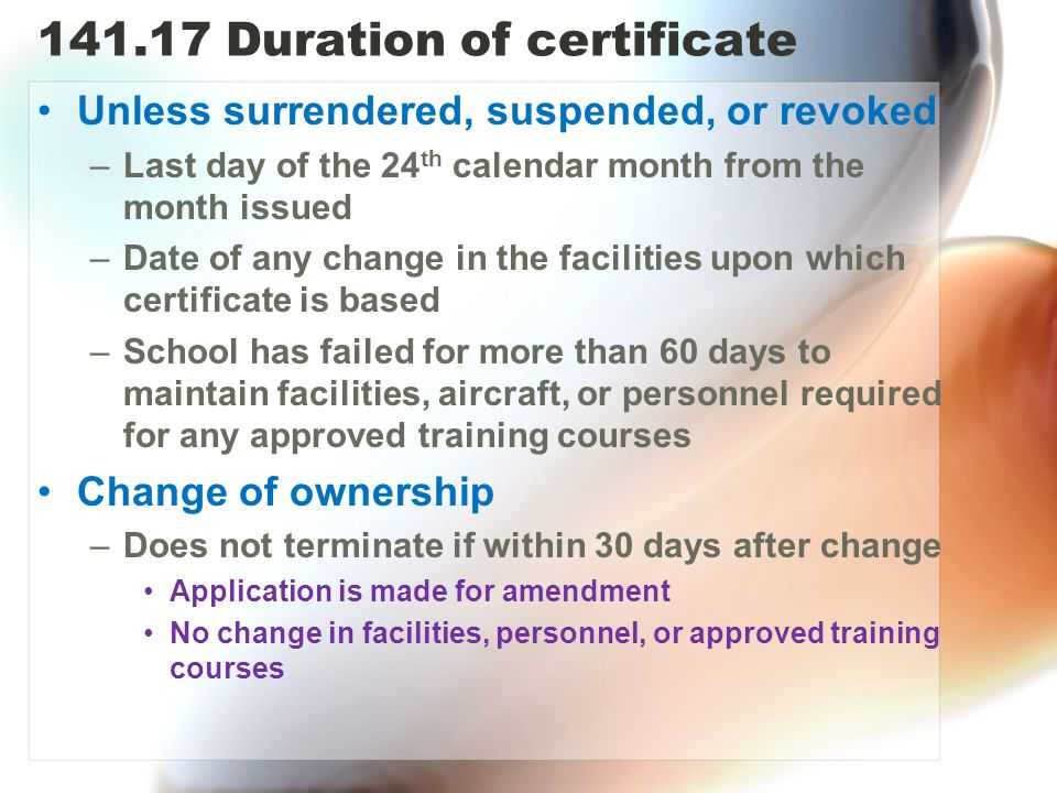 Duration of certificate
