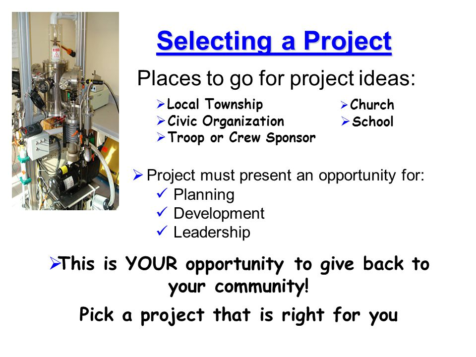 Selecting a Project Places to go for project ideas: