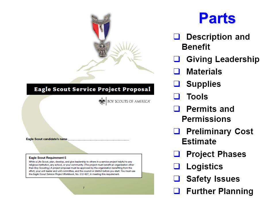 Parts Description and Benefit. Giving Leadership. Materials. Supplies. Tools. Permits and Permissions.