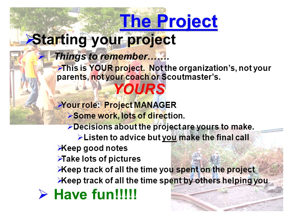 The Project Starting your project Have fun!!!!!