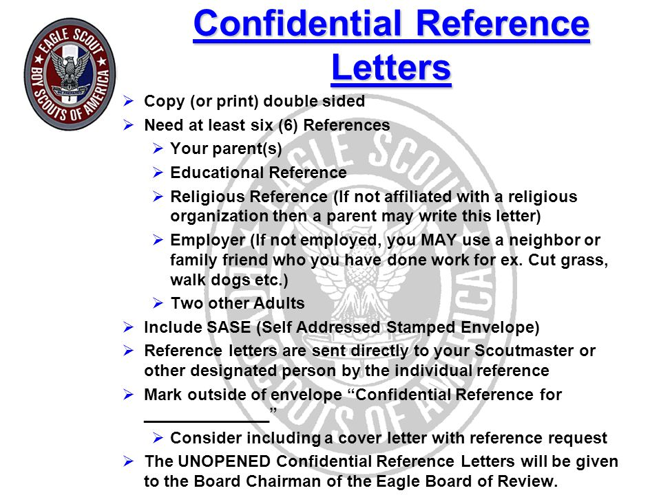 Confidential Reference Letters