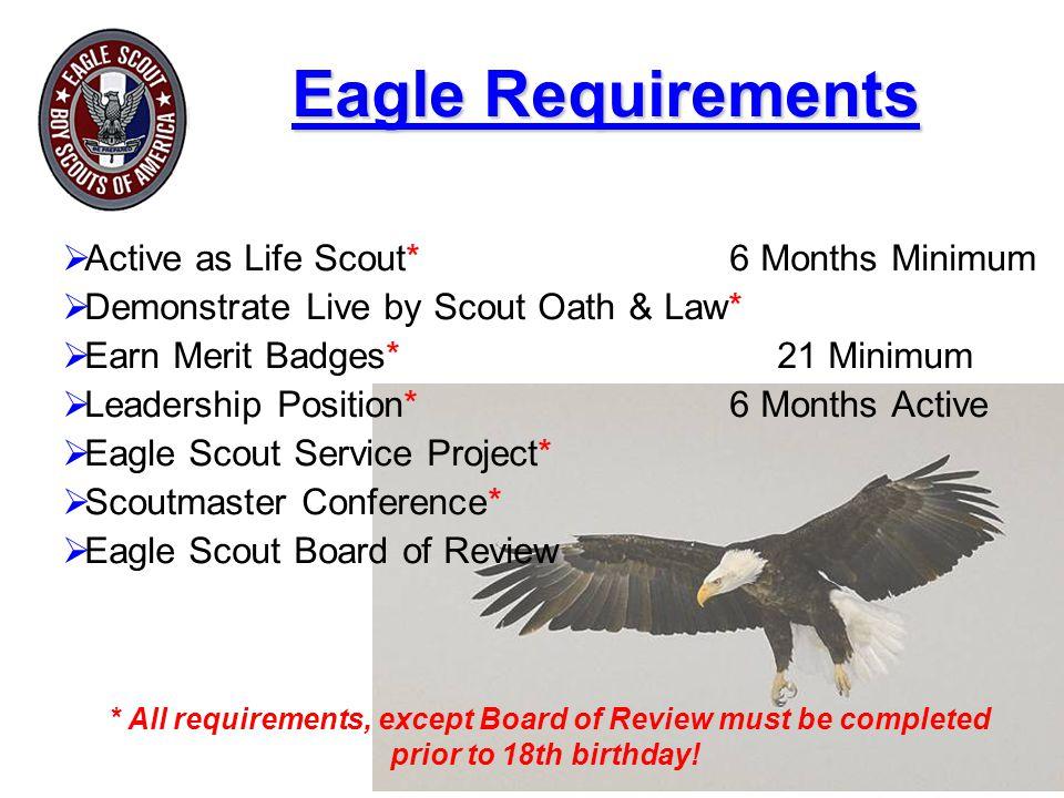 Eagle Requirements Active as Life Scout* 6 Months Minimum