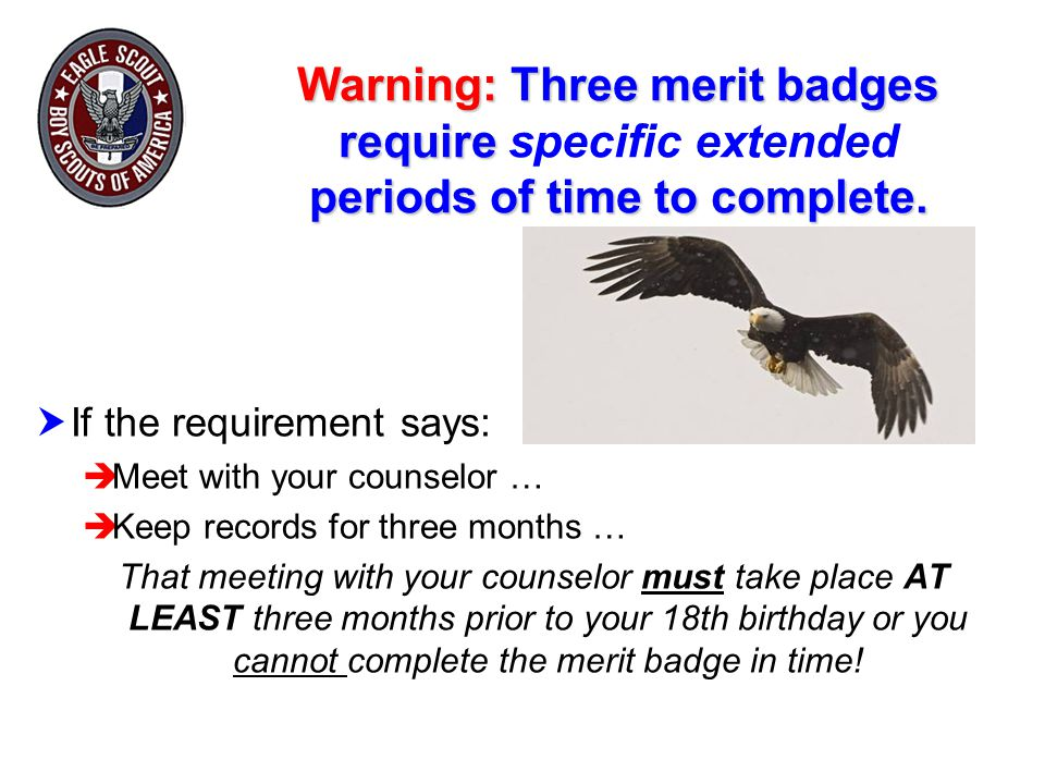 Warning: Three merit badges require specific extended periods of time to complete.