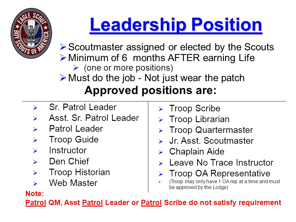 Approved positions are:
