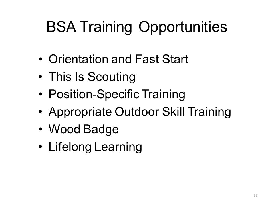 BSA Training Opportunities