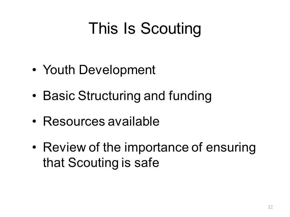 This Is Scouting Youth Development Basic Structuring and funding