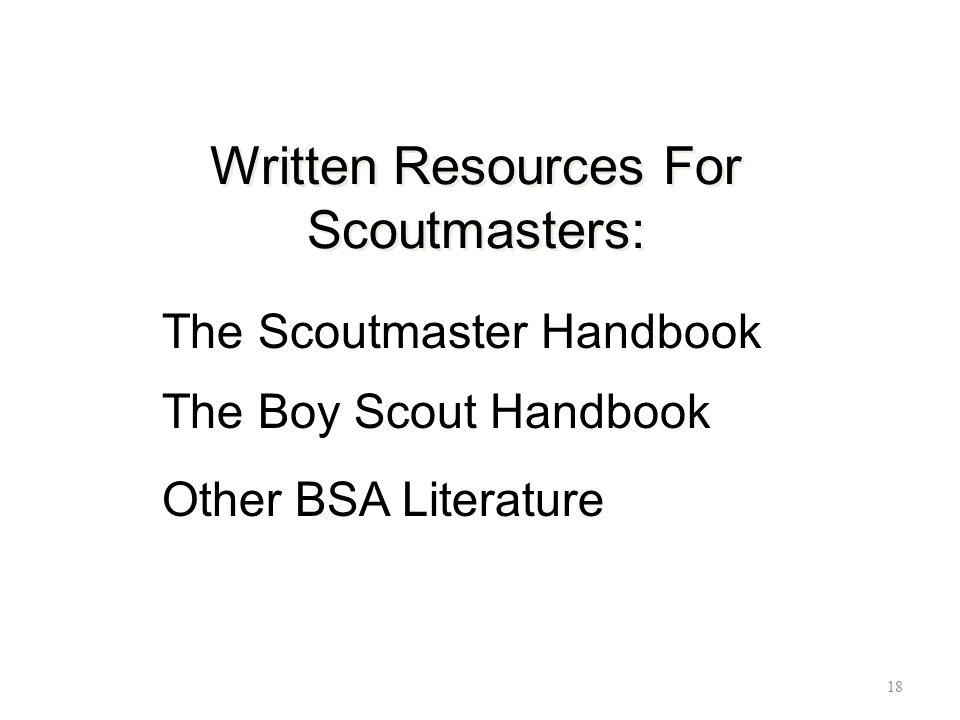 Written Resources For Scoutmasters: