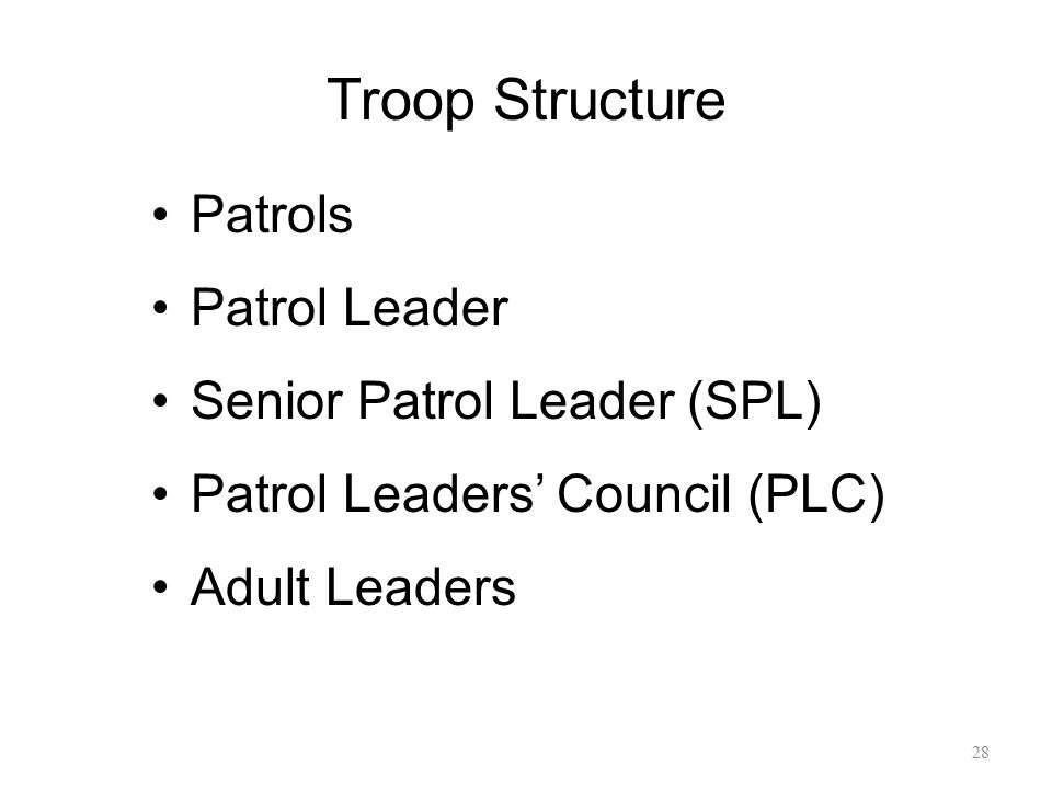 Troop Structure Patrols Patrol Leader Senior Patrol Leader (SPL)