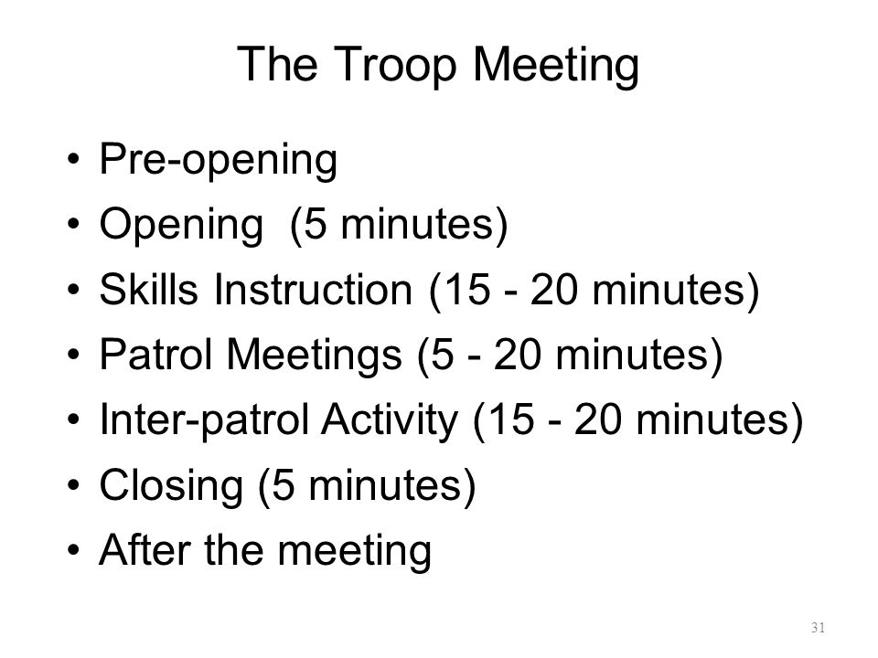 The Troop Meeting Pre-opening Opening (5 minutes)