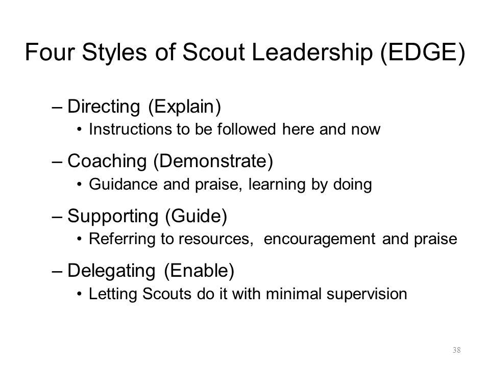 Four Styles of Scout Leadership (EDGE)