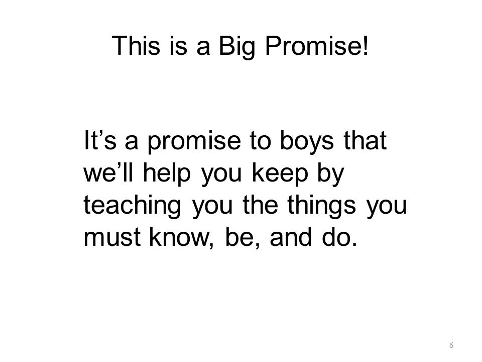 This is a Big Promise.