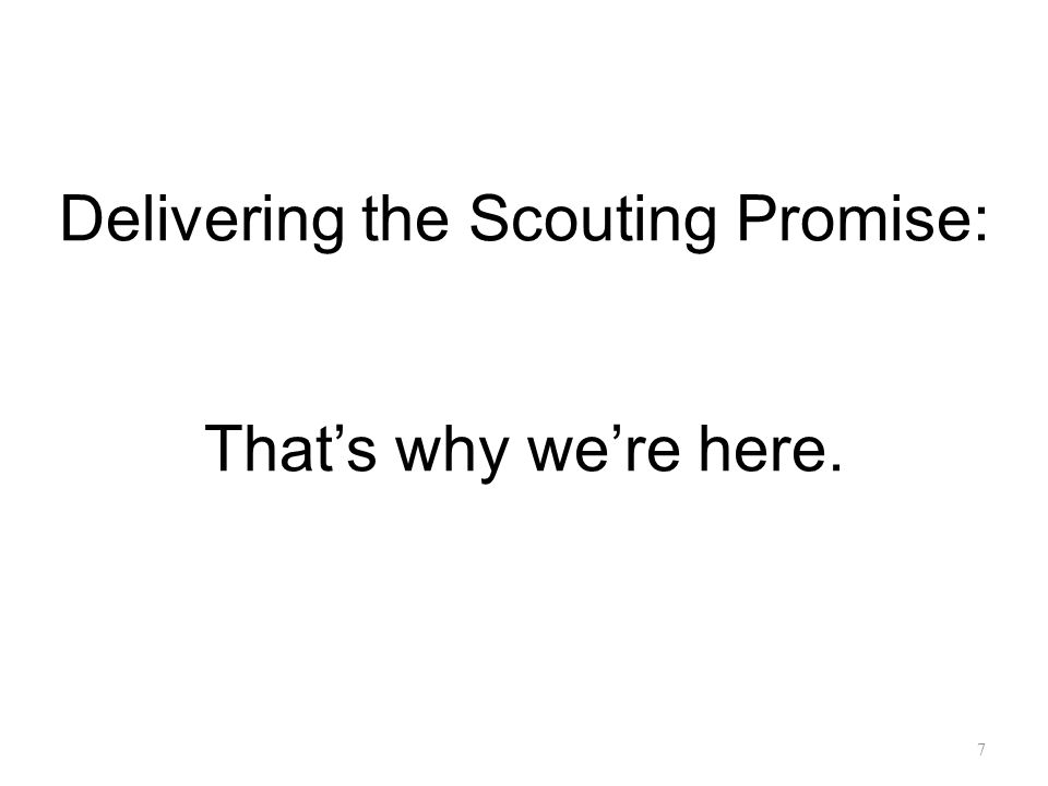 Delivering the Scouting Promise: That's why we're here.