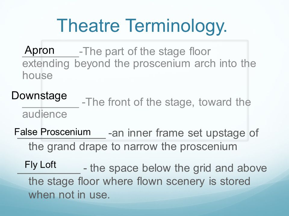 Theatre Terminology. Apron