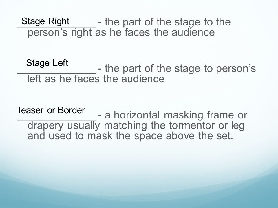 Stage Right _____________ - the part of the stage to the person's right as he faces the audience.