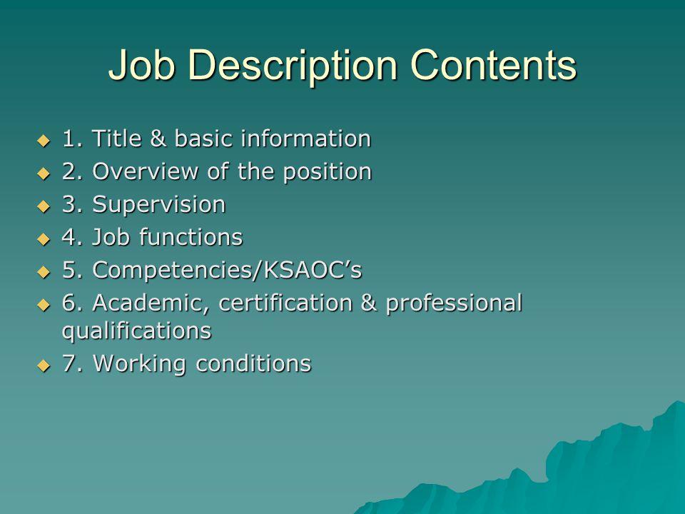 Job Description Contents