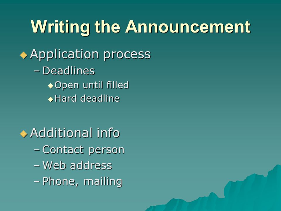 Writing the Announcement