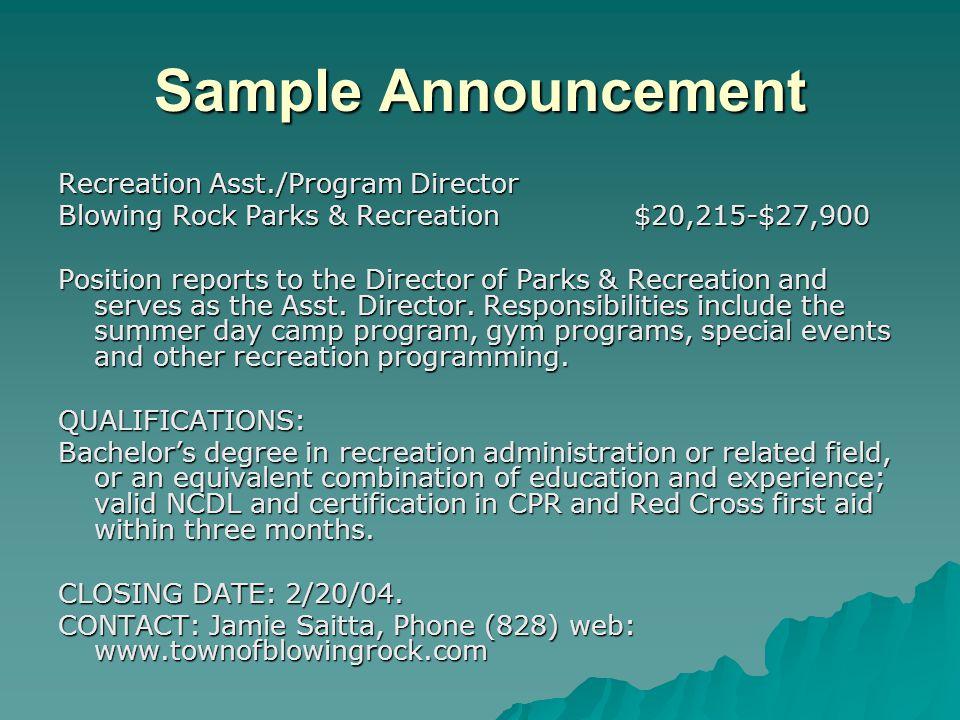 Sample Announcement Recreation Asst./Program Director