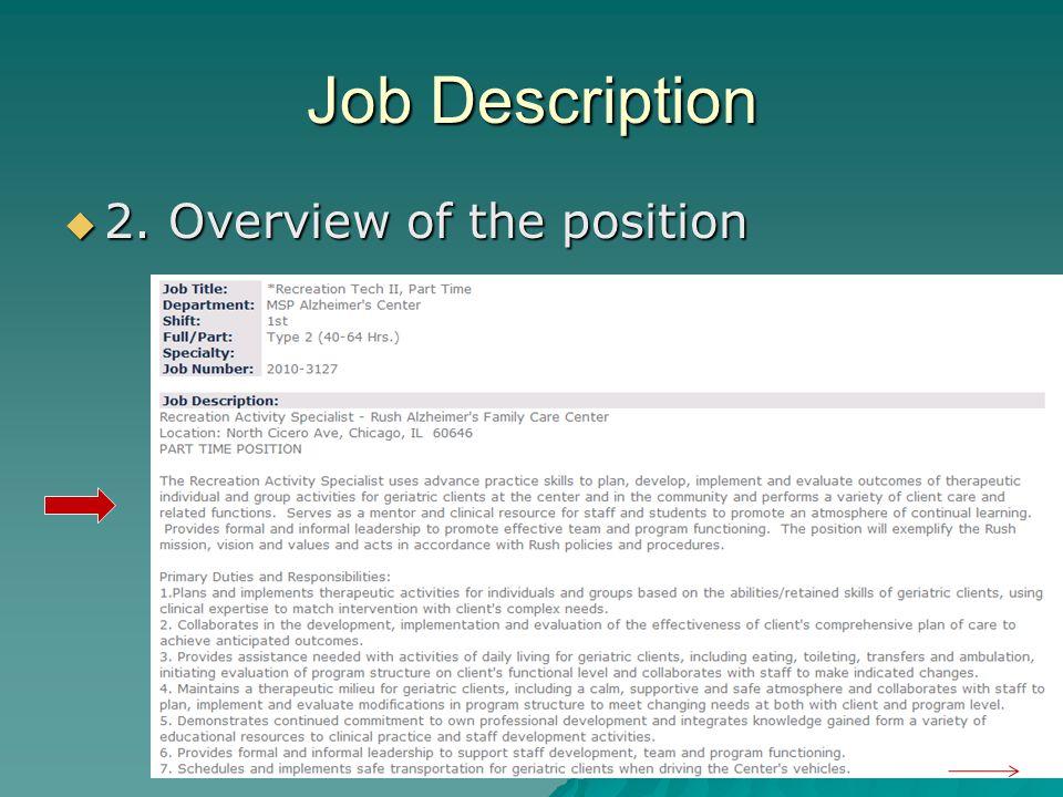 Job Description 2. Overview of the position