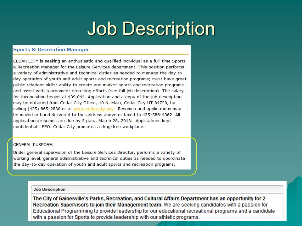 Job Descriptions  Ppt Download